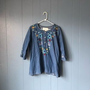 Vintage floral embroidered denim tunic top